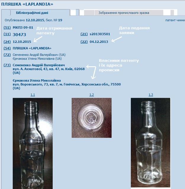 пляшка-патент